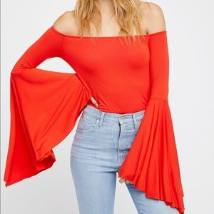 NWT Free People Birds of Paradise Bell Sleeve Top